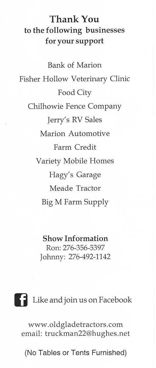 Old Glade Tractor Association Upcoming Show